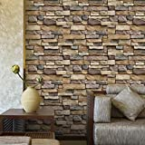 Jannyshop Stone Wallpaper PVC 3D Effect Blocks Peel and Stick Wallpaper for Home Decoration (17.71 x 39.37 inch)