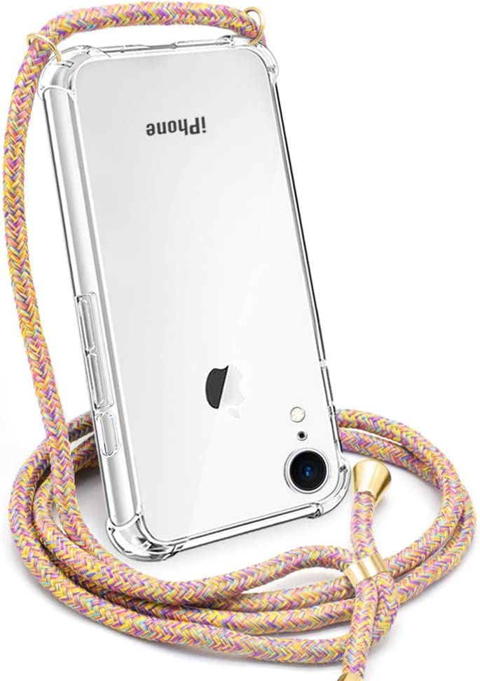 CAROKI Crossbody Case for Apple iPhone XR,Necklace Mobile Phone Cover with Cord Strap for iPhoneXR,Clear Transparent TPU Soft iPhone XR Cover Holder with Neck Cord Lanyard Strap-Rainbow