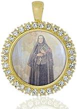 Realig St Francesca Cabrini Christian Round Medal Gold Tone Pendant with Rhinestones