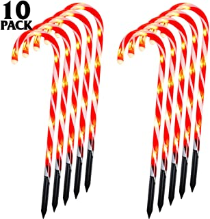 Whonline Christmas Candy Cane Lights Lighted Pathway Markers Set of 10 Christmas Decoration Lights for Patio Yard Paths Fences Indoor Outdoor (60 Bulbs)