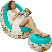 Jyunintoiro Inflatable Lounge Chair Sofa and Footstool with Ottoman Blow Up Chaise Air Lazy Sofa Set Flocked Family Couch ...