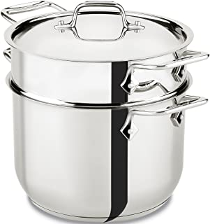 All-Clad E414S6 Stainless Steel Pasta Pot and Insert Cookware, 6-Quart, Silver (Renewed)