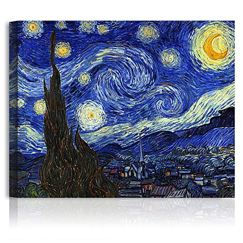 A&T ARTWORK The Starry Night by Vincent Van Gogh. The World Classic Art Reproductions, Giclee Canvas Prints Wall Art for Home Decor,30x24 inches