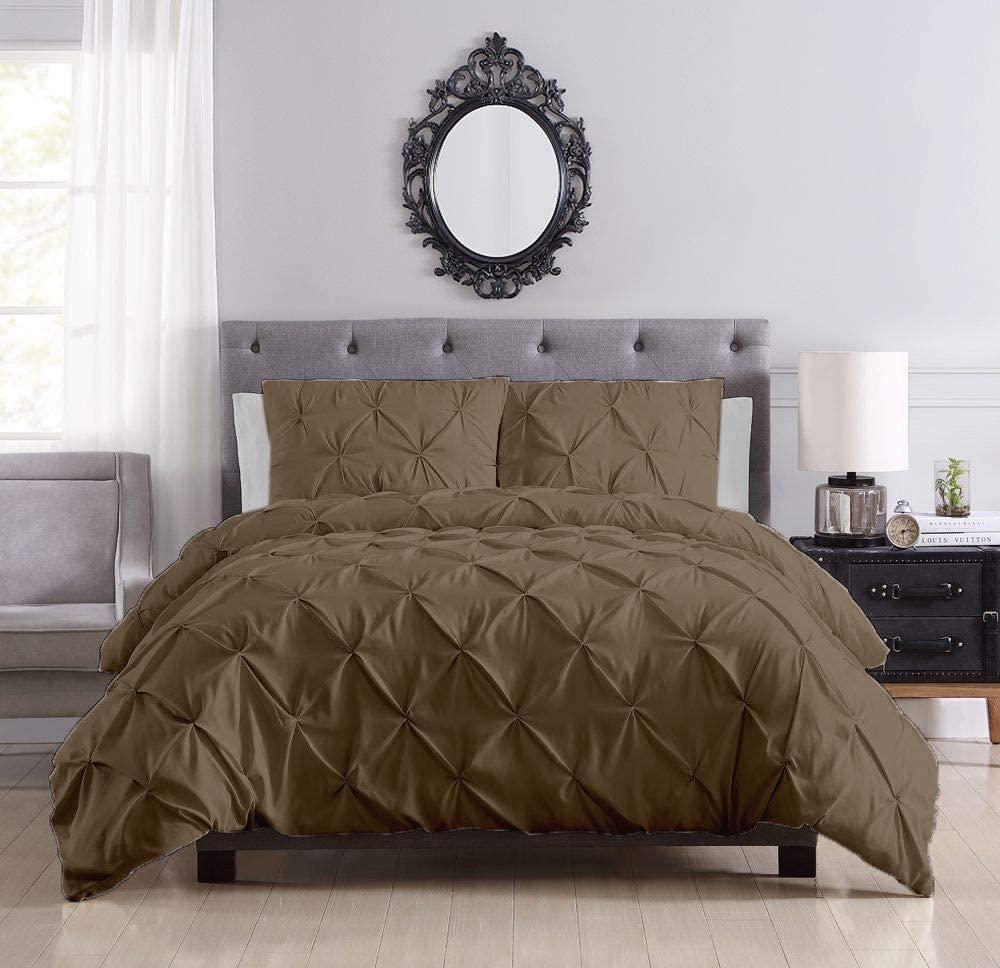 Serene Linens Pinch 4年保証 Pleated 3 Piece 2 返品送料無料 Duvet Cover Set Pillo with