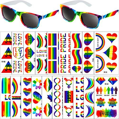 Frienda 20 Hojas Tatuajes Temporales de Arcoiris Pegatinas Impermeables de Corazón de Bandera y 2 Gafas de Sol de Estilo Arcoiris para Suministros de Fiesta Celebración de Desfile Hombre Mujer