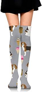 Beagle Ice Cream Dog Breed Tela Verano Postre Comida Gris de las mujeres Sobre la rodilla Calcetines de muslo Chica Medias altas 65 Cm / 25.6In