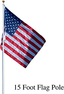 Titan Telescoping Flag Poles, Silver 15ft- Heavy Duty Aluminum Flag Pole Kit, Kit Includes, Telescoping Flagpole, Hardware to Hang 2 Flags, 3 x 5 American Flag, and Installation Instructions