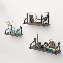 MU Pływające półki ścienne 3, rustykalne drewniane półki do przechowywania, metalowy dekoracyjny stojak ekspozycyjny, do s...