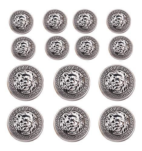 Tvoip 14Pcs Gold and Silver Vintage Antique Metal Blazer Button Set - 3D Lion Head - For Blazer, Suits, Sport Coat, Uniform (Silver)