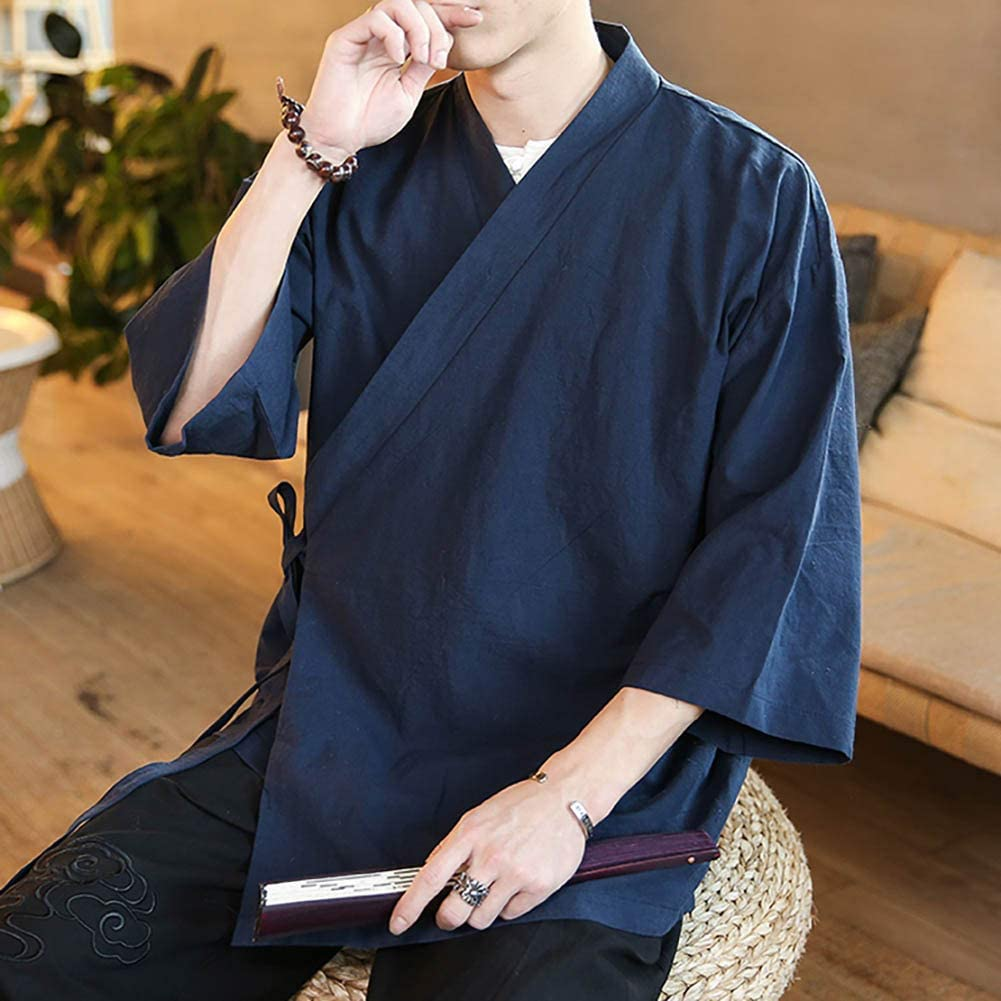 Mens Chinese Style Linen Cardigan Jacket loose kimono Jacket Solid Color Self-tie Hanfu Traditional Clothing