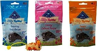 Blue Buffalo Kitty YUMS Healthy Soft Moist Treats for Cats 3 Flavor Variety with Toy Bundle, (1) Each: Tuna, Turkey, Salmon (2 Ounces)