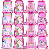 CNNIK 16 Piezas Bolsas Unicornio con Cordón - Bolsas para Unicornio Themed Party - Suministros Fiesta de Unicornio