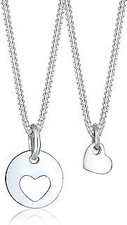 Elli Women Mother Child Cut-Out Heart Love 925 Sterling Silver Jewellery Set