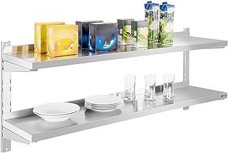 Royal Catering Étagère Murale Rangement Cuisine 2 plateaux RCWR-140.2 (140 cm de long, éléments pour montage mural, design...
