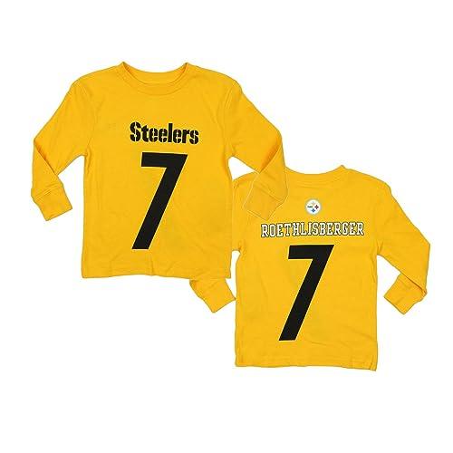 26bd8b141 Outerstuff Pittsburgh Steelers Ben Roethlisberger  7 NFL Little Boys Long  Sleeve Mainliner Shirt