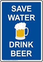 YFULL Vertical Metal Save Water Drink Beer Tin Sign, 8