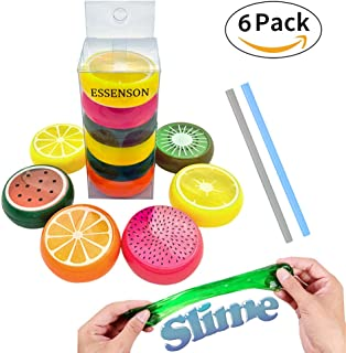 ESSENSON 28 0 Magic Crystal Slime Putty Toy Soft Rubber Fruit Slime for Kids, Students, Birthday, Party - 6 Pack with 2 Straws