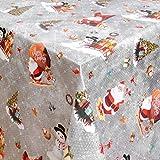Tovaglia cerata, tovaglia da giardino, Natale, asta di zucchero, colore argento, larghezza e lunghezza a scelta, 140 x 100 cm, rettangolare, lavabile.
