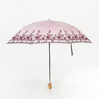 Sun Umbrella Umbrella Sun Umbrella Rain Rain Umbrella Umbrella UV Protection Vinyl Folding Umbrella Huhero (Color : Pink)