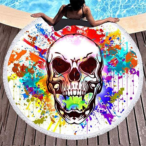 BCDJYFL Microfibra Toalla De Playa Calavera De Pintura Al Óleo 3D Rectangular Multi-Funcional para Toalla Baño Mantel Nadar Deportes Viajes Decoración.-Diámetro: 150Cm