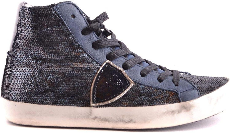 PHILIPPE MODEL Women's MCBI28542 bluee Fabric Hi Top Sneakers