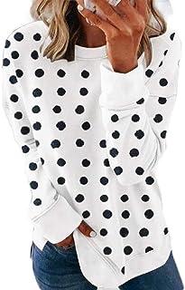 GUOCAI Women's Plus Size Pullover Polka Dot Tops Crew Neck Long Sleeve Sweatshirt