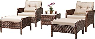Tangkula Wicker Furniture Set 5 Pieces PE Wicker Rattan Outdoor All Weather Cushioned..