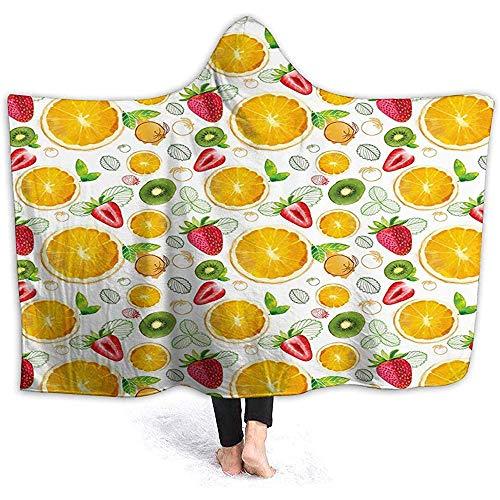 Hooded Deken Knuffel Sherpa Fleece Deken, Citrus Kiwi Citroen Bladeren Abrikoos Watermeloen Verse Exotische Keuken