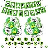 Decoración de cumpleaños de fútbol Suministros para fiestas, pancarta de cumpleaños de fútbol, adornos para tartas, globos de látex para fiestas de la Copa del Mundo para niños, fanáticos del fútbol
