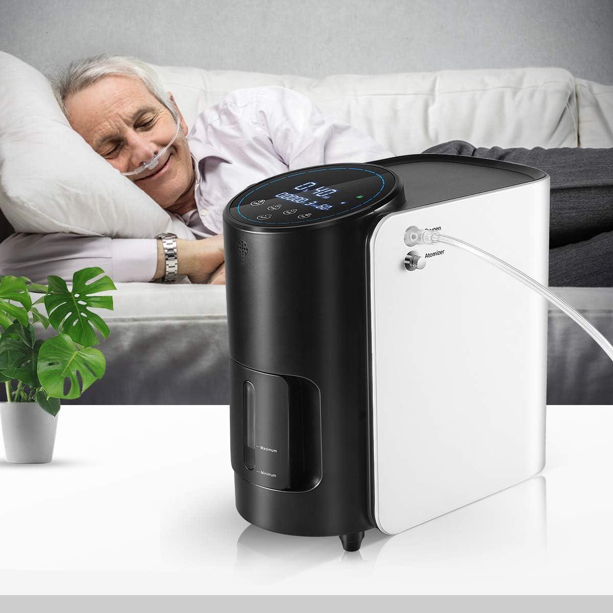 InLoveArts Generador de concentrador de oxígeno,máquina de oxígeno ajustable 1-7L/min,portatil purificador de aire para el hogar 90% de flujo de alta pureza AC 220V