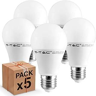 5 bombillas LED V-Tac E27, 9 W (806 lúmenes equivalentes a 60 W), Forma: bulbo, luz blanca cálida, natural o fría (blanco natural).