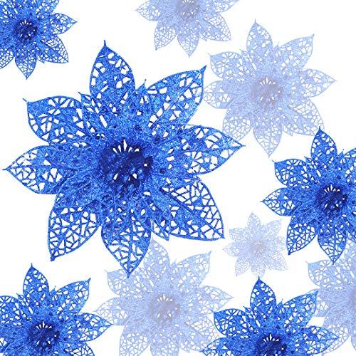Zaloife Poinsettia Adorno, 24 Brillante Flores de Árbol de Navidad Colgantes Navidad Adornos, Flores de Navidad Boda, Artificial Árbol de Navidad Guirnaldas, Decoración de Árbol de Navidad (Azul)