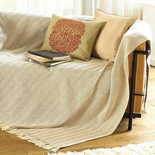 COMO Coperta per sedia/copriletto/copridivano, 100% cotone, beige, 170 x 200 cm, tela
