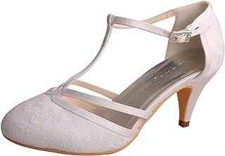Wedopus MW621 Women s Closed Toe Kitten Heels Lace T-Strap Wedding Bridal  Court Shoes 022ba4f35939