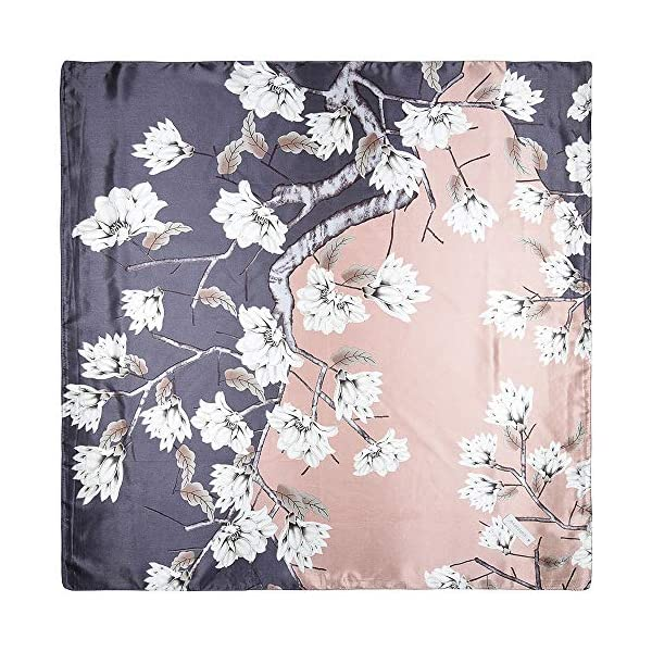 35″ Women Silk Feeling 90 cm Square Hair Neck Sleeping Scarf Tea Rose Taupe Gray Two-color Magnolia