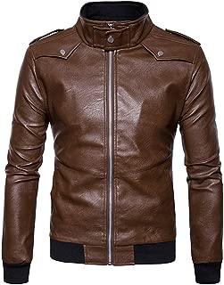 KAAZEE Mens Slimfit Style Round Collar Stylish Biker Leather Jacket