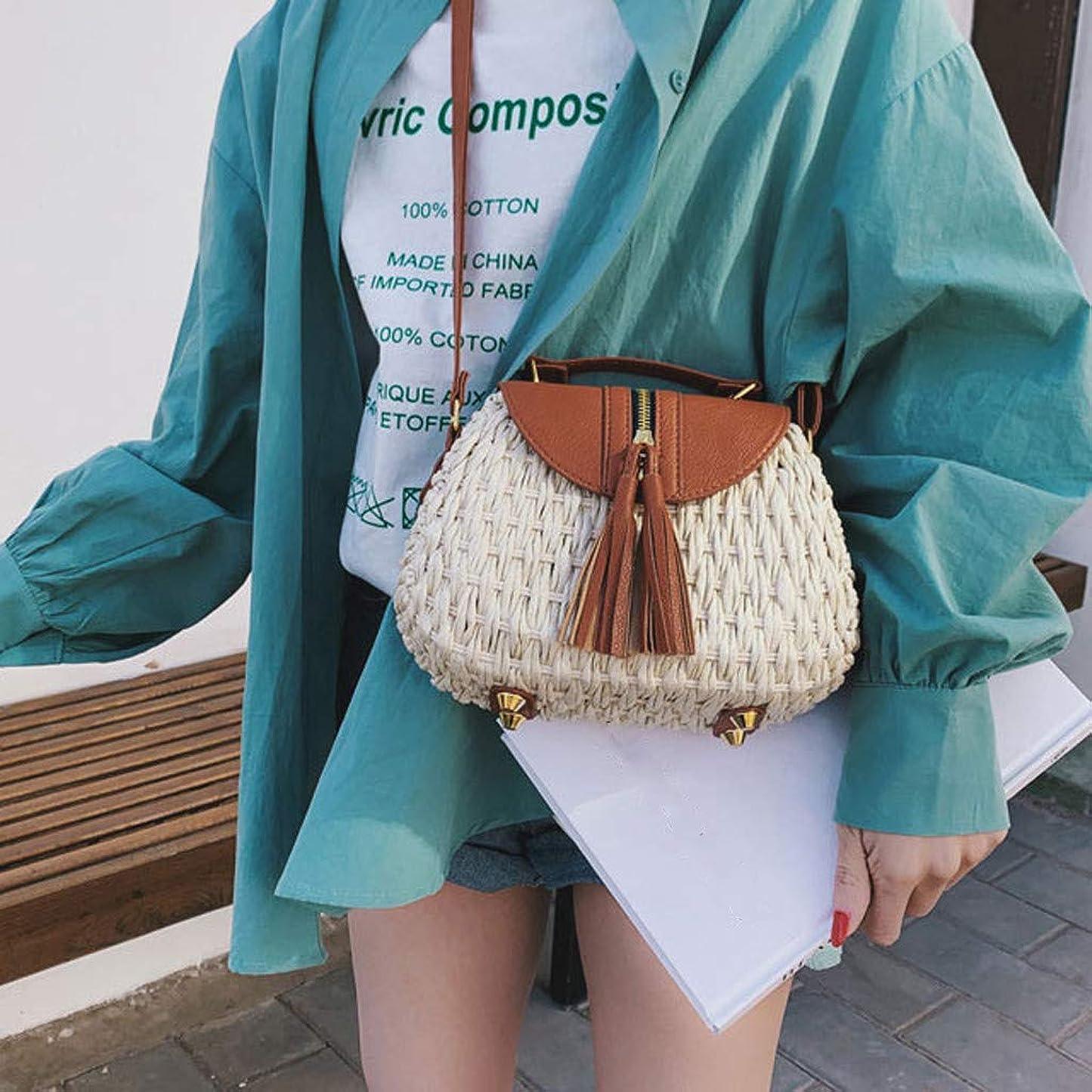 放牧する心臓遅れ女性の流行のタッセルはショルダー?バッグ、女性浜の余暇のクロスボディ袋を織ります、女性のタッセルは浜様式のメッセンジャー袋を織ります、女性方法対照色のビーチ様式のメッセンジャー袋 (ベージュ)