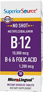 Superior Source No Shot Vitamin B12 Methylcobalamin (10000 mcg), B6, Folic Acid, Quick Dissolve Sublingual Tablets, 30 Ct,...