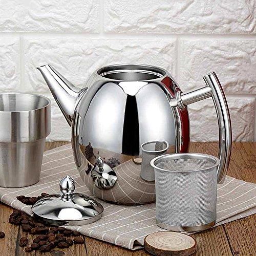 Tetera de Acero Inoxidable,Cafetera Durable de 1000ml/1500ml con Filtro para el hogar, Hotel, cafetería, Bar, Restaurante(1500ml)