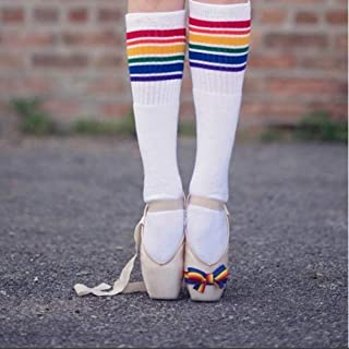 QWERGLL, Rainbow Niños Calcetines de Algodón Largo Estudiante de la Escuela Calcetines Niñas Niños Rayas Calcetines de la Familia Medias Gruesos Niños