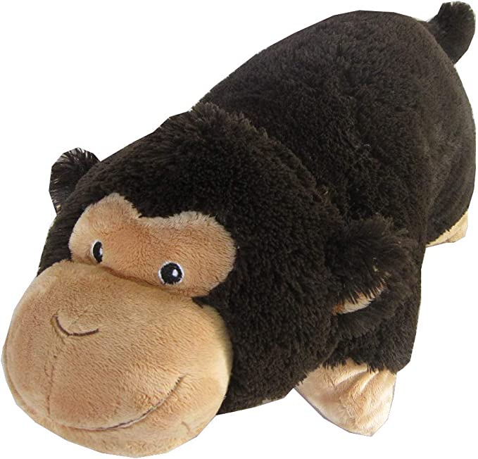 """Monkey Zoopurr Pets 19"""" Large, 2-in-1 Stuffed Animal and Pillow with Embroidered Eyes 
