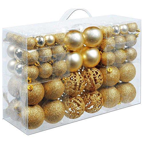 BAKAJI Confezione 100 Palline di Natale Diametro 3/4/6 cm Addobbi e Decorazioni per Albero di Natale (Oro)