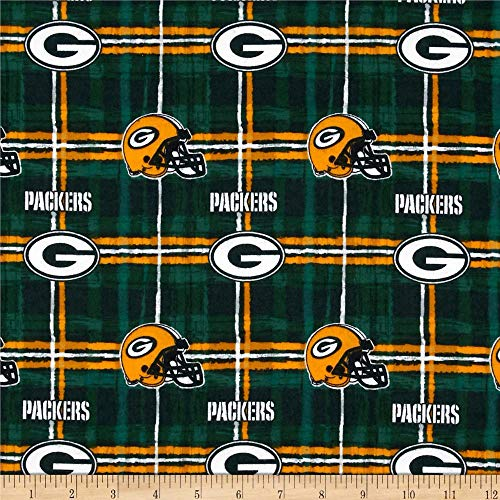 Fabric Traditions NFL Flannel Bay Packers, Yard, Green/Yellow