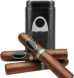 Portabel läder resa cigarr fodral cederträ fodrade cigarr luftfuktare 3 rör med rostfritt stål cigarr skärare stativ (svart)
