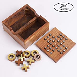 Artisans Of India Wooden 2 in 1 Board Games Solitaire & Tic Tac Toe Set Wooden Toys Noughts and Crosses
