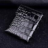 Echtes echtes Leder Stoßfeste Hülle Abdeckung Aufbewahrungstasche für Motorola Moto Razr 5g, kompatibel mit Moto Razr 5g Schutzhülle, Leder Handy Holster Small Crocodile Black