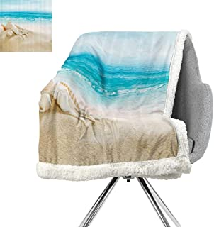 Ocean Decor Collection Blanket Small Quilt,Starfish Seascape Sea Beach Picture Print,Blue Sand White,Blanket as Bedspread W59xL47 Inch