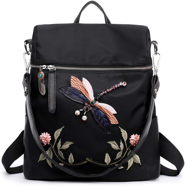 DYR Backpack Lady Handbag Embroidered Waterproof Shoulder Bag AntiTheft Nylon oth Travel Backpack, Black