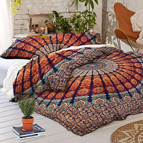 Traditional Jaipur Queen Size, Peacock Feather Mandala Doona Cotton Throw, Bohemian Doona Cover, Boho Quilt Cover