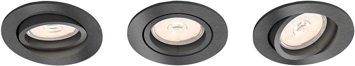 Philips Donegal inbouwspot, 3 stuks, GU10, rond, grijs